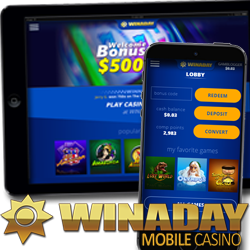 New Mobile Casino at WinADay — $15 Freebie to Try It this Week !