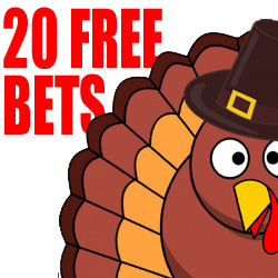 Get 20 Free Bets on Video Poker, Table Games & Wheel Games on Thanksgiving Day